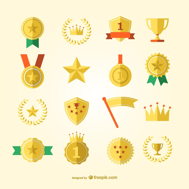 Sportpreis und Medaillen Vektor-Set Kostenlose Vektoren