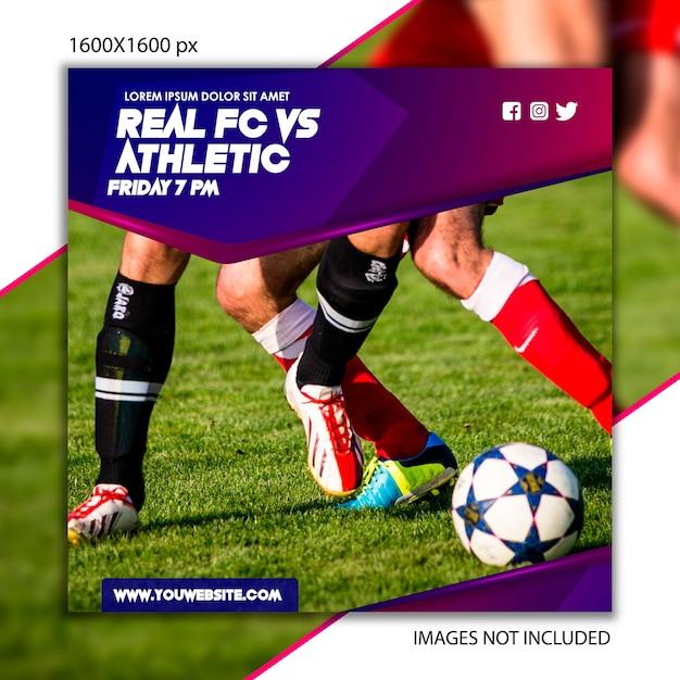 Sportpublikation fußball für soziales netzwerk Premium Vektoren