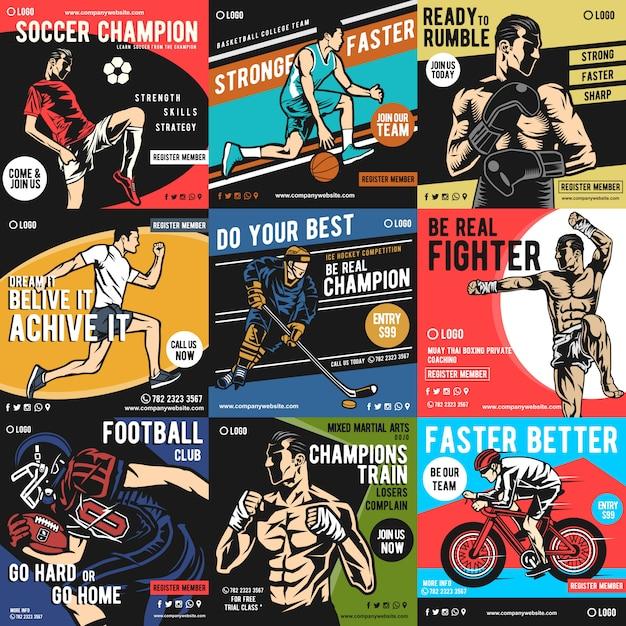 Sports social media beitrag Premium Vektoren