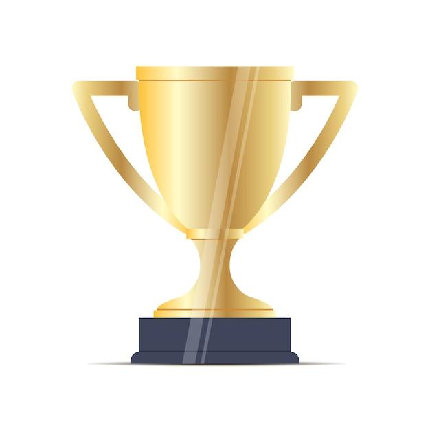Sportschalen-goldflacher vektor. gewinner der belohnung. Premium Vektoren