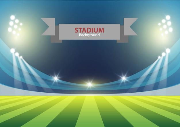 Sportstadion mit lichtern Premium Vektoren