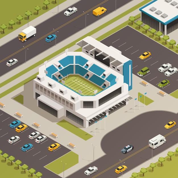 Sportstadions-bereichs-isometrische zusammensetzung Kostenlosen Vektoren
