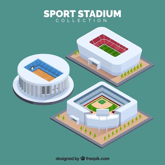 Sportstadionsammlung in der isometrischen art Kostenlosen Vektoren