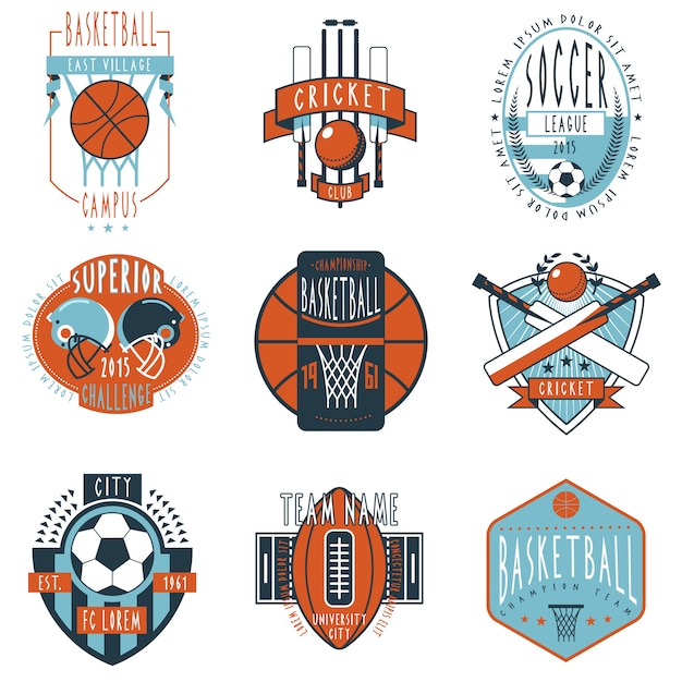 Sportvereinaufkleberikonen eingestellt Kostenlosen Vektoren