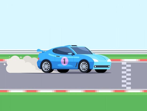 Sportwagen auf der rennstrecke Premium Vektoren