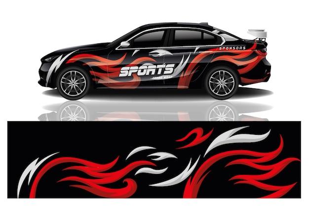 Sportwagen aufkleber wrap design vektor Premium Vektoren