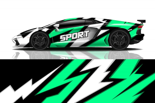 Sportwagen aufkleber wrap design Premium Vektoren