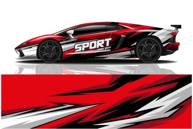 Sportwagen aufkleber wrap illustration Premium Vektoren