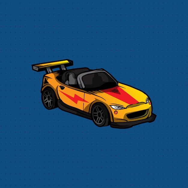 Sportwagen des handabgehobenen betrages gelb und rot Premium Vektoren