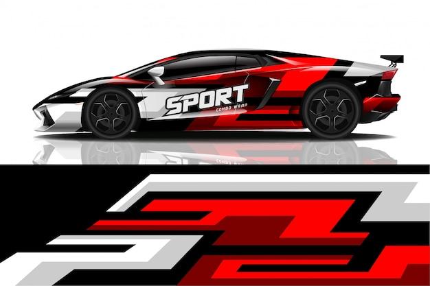 Sportwagenverpackung aufkleber design Premium Vektoren