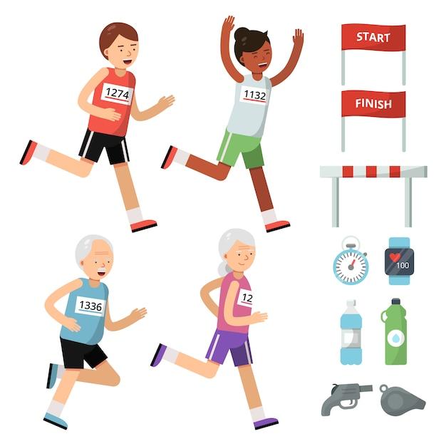 Sportzubehör für läufer Premium Vektoren