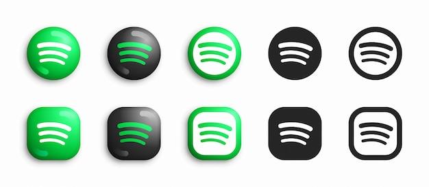 Spotify modern 3d und flat icons set Premium Vektoren