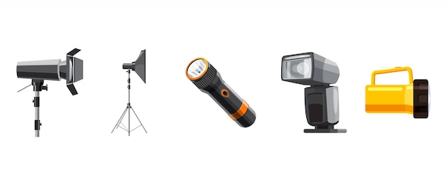 Spotlight-elementsatz. cartoon satz von scheinwerfer Premium Vektoren