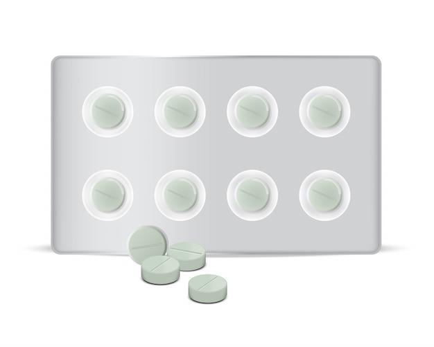 Spott herauf realistische kreis-grüne pillen-medizin-platte Premium Vektoren