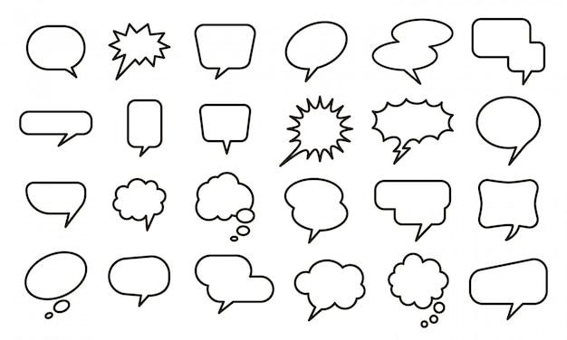 Sprache leeren ballon. blasenaufkleber, gesprächskizzenballons und comic-textelemente setzen. sammlung verschiedener leerer rede- und gedankenblasen auf weißem hintergrund Premium Vektoren