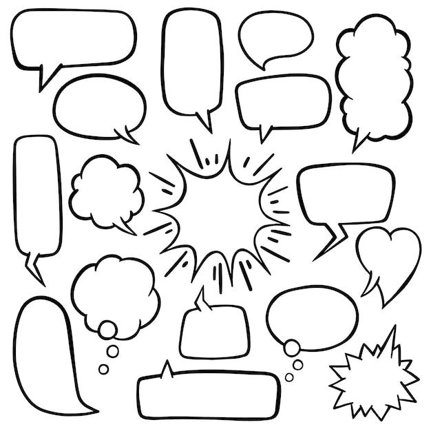 Spracheblase mit hand gezeichnetem gekritzelvektor Premium Vektoren