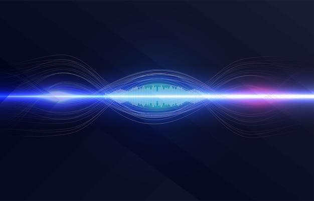 Spracherkennung, equalizer, audiorecorder. mikrofontaste mit schallwelle. Premium Vektoren