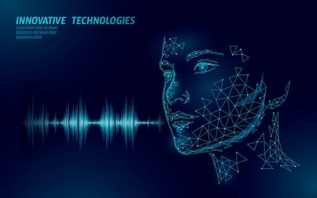 Spracherkennungsdiensttechnologie für virtuelle assistenten. unterstützung für ki-roboter mit künstlicher intelligenz. chatbot schöne weibliche gesicht vektor-illustration Premium Vektoren