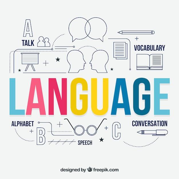 Sprachkonzept mit flachem design Kostenlosen Vektoren