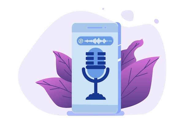 Sprachnachrichten, spracherkennungskonzept. Premium Vektoren