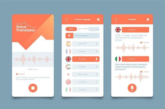 Sprachübersetzer-app-bildschirme Kostenlosen Vektoren