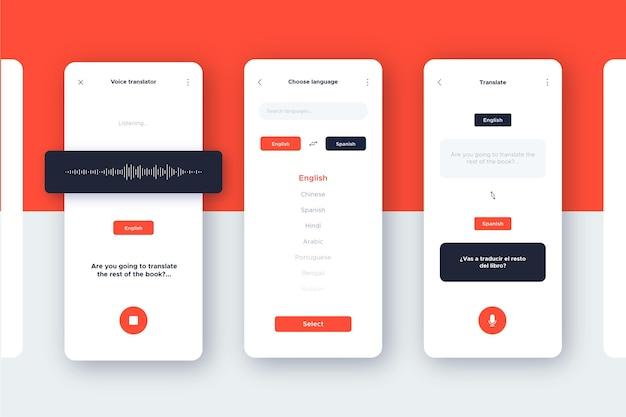 Sprachübersetzer-app-pack Premium Vektoren