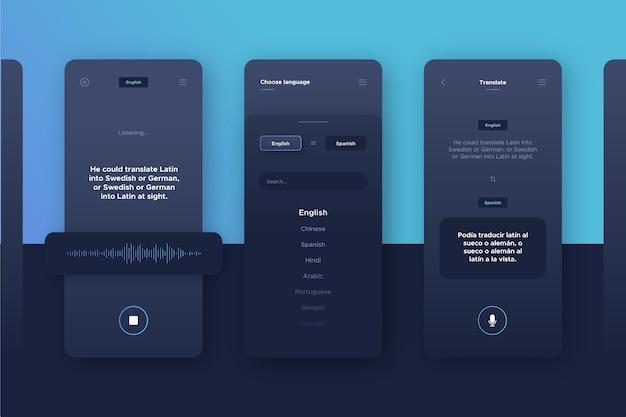 Sprachübersetzer-app-set Kostenlosen Vektoren