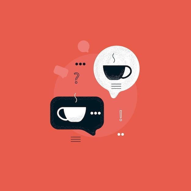 Sprechblase mit kaffeetasse, kaffeepause, diskussion mit heißem getränk, kommunikation mit kaffeekonzept Premium Vektoren
