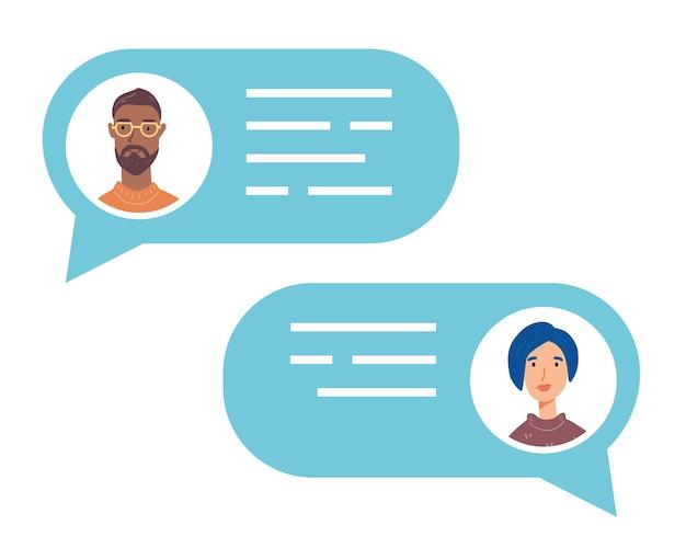 Sprechblase mit sprechenden menschen avataren. konzept von chat, nachricht, webkommunikation, messenger. Premium Vektoren