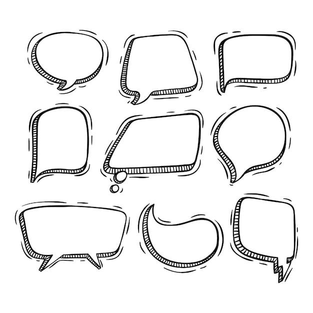 Sprechblasen-auflistung mit doodle-stil Premium Vektoren