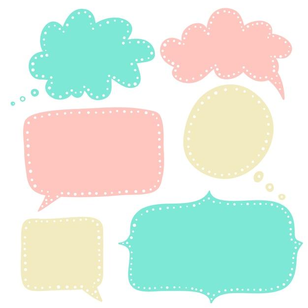 Sprechblasen in pastellfarben-kollektion Premium Vektoren