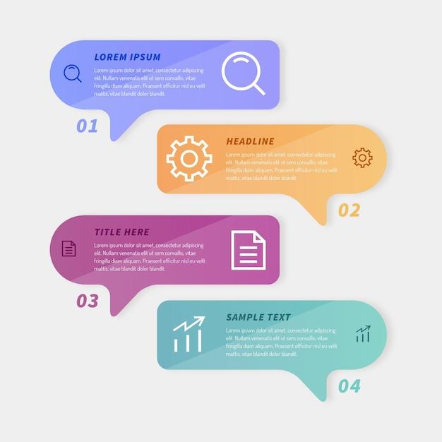 Sprechblasen infografiken in flachem design Kostenlosen Vektoren
