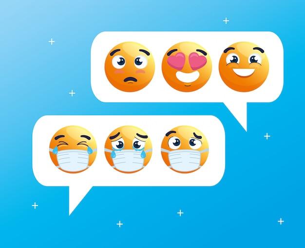 Sprechblasen mit einem satz von emoji-weinen, die medizinische masken tragen, soziale medien chatten, symbole für coronavirus-ausbruch Premium Vektoren