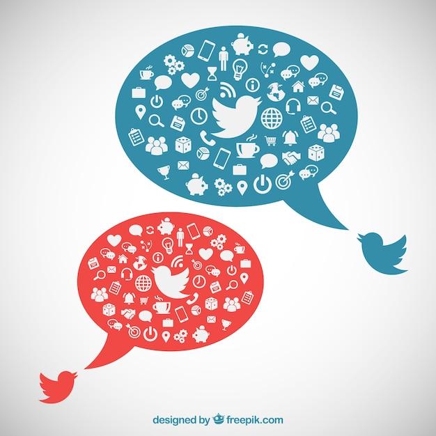 Sprechblasen mit social media icons Kostenlosen Vektoren