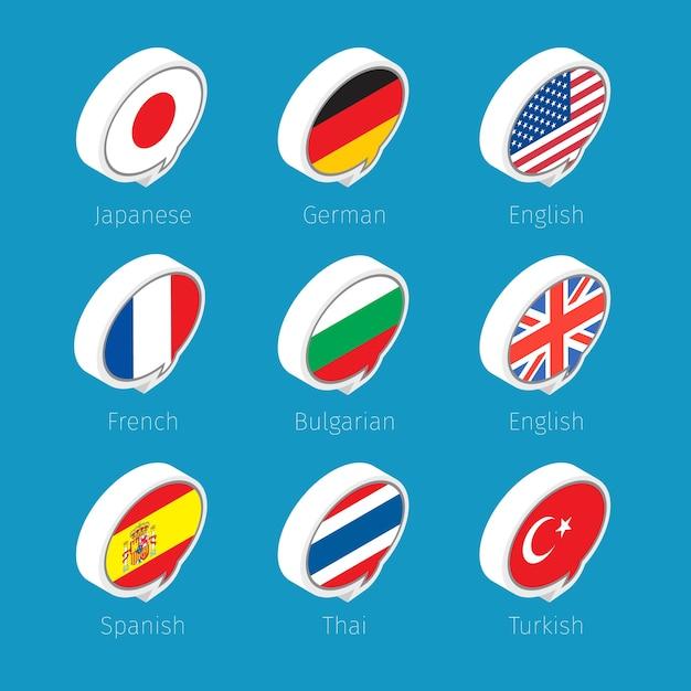 Sprechblasen, sprachensymbole mit länderflaggen. Premium Vektoren