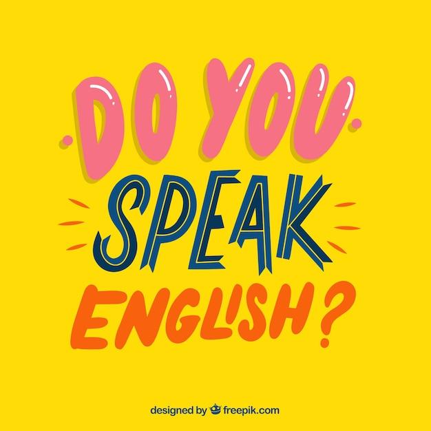Sprechen sie englische frage mit flachem design Kostenlosen Vektoren