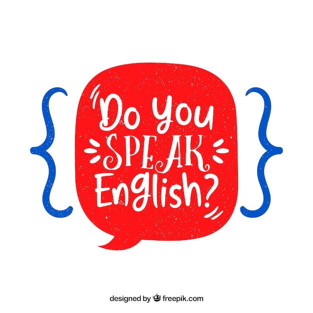 Sprechen sie englische frage mit hand gezeichnetem stil Kostenlosen Vektoren