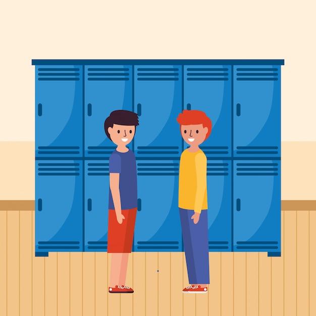Sprechende schüler in der schule Premium Vektoren