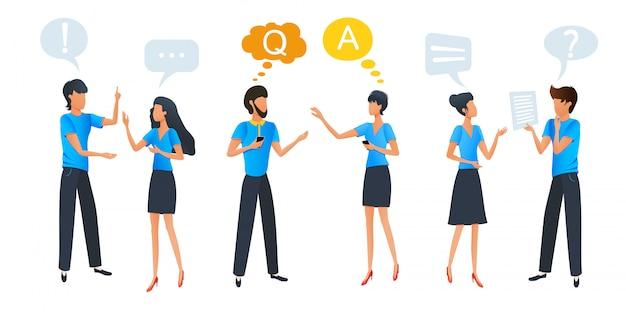 Sprechende und denkende leute, gruppenchatkommunikation mit bunten dialogspracheblasen Premium Vektoren