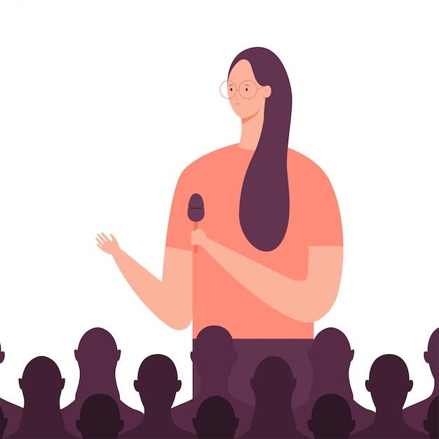 Sprecherin hält dem publikum eine rede bei einem geschäftstreffen Premium Vektoren