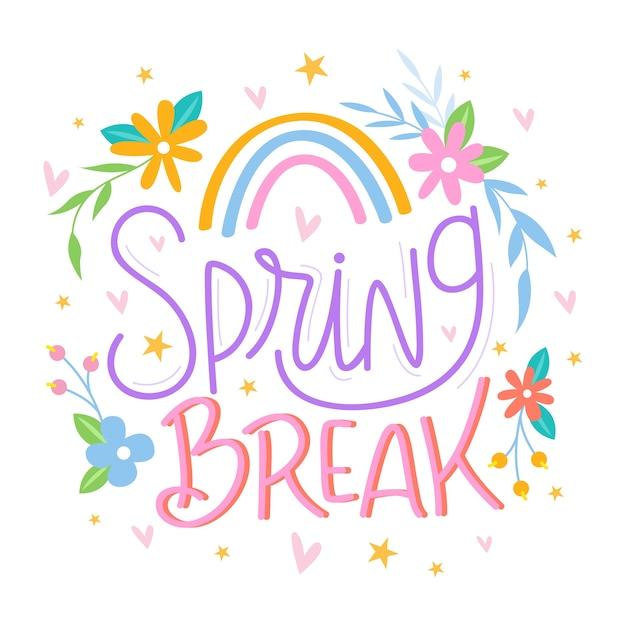 Spring break schriftzug mit regenbogen Kostenlosen Vektoren