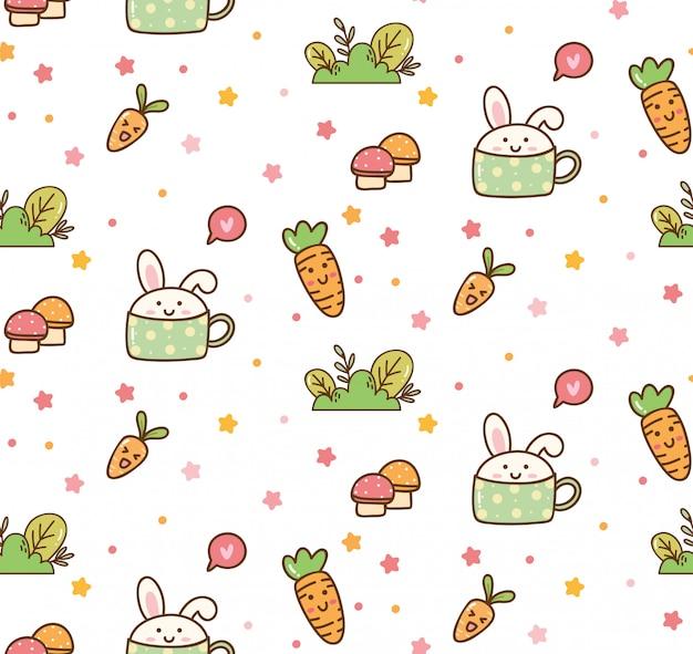 Spring bunny kawaii hintergrund Premium Vektoren