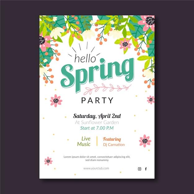 Spring party plakat vorlage Kostenlosen Vektoren