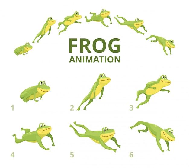 Springende animation des frosches. verschiedene keyframes für grünes tier Premium Vektoren