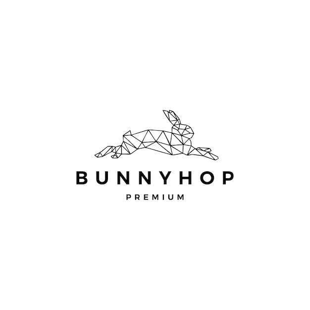 Springende häschen-hopfenlogoschablone des kaninchenhasen Premium Vektoren