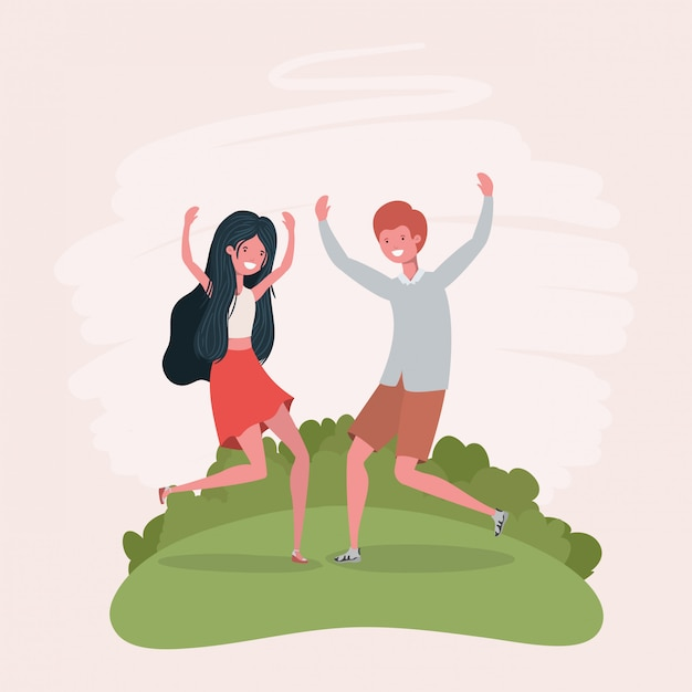 Springendes feiern der jungen paare in den parkcharakteren Kostenlosen Vektoren