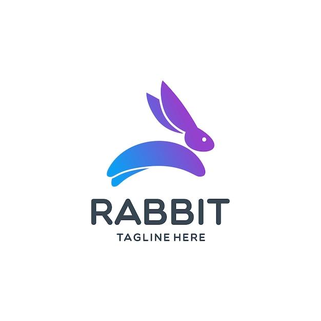 Springendes kaninchen logo template Premium Vektoren