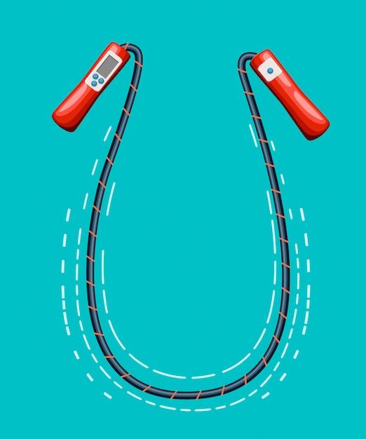Springseil springseil auf weißer website und mobile app auf sportgeräten. Premium Vektoren