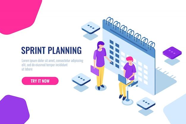 Sprintplanung isometrisches konzept, kalenderfüllung, erinnerung an wichtige angelegenheiten Kostenlosen Vektoren