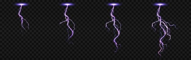 Sprite-blatt mit blitzen, blitzschlag für fx-animation. realistischer satz von lila elektrischem aufprall in der nacht, funkenentladung des gewitters lokalisiert auf transparentem hintergrund Kostenlosen Vektoren